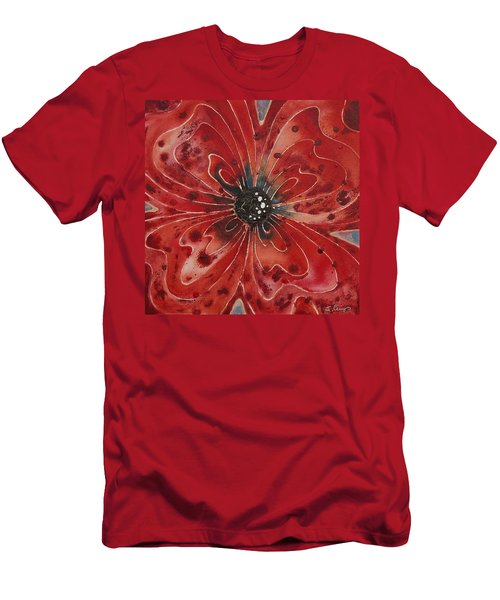 Red Flower 1 - Vibrant Red Floral Art Men's T-Shirt (Athletic Fit)
