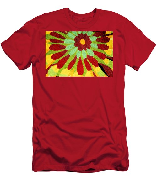Men's T-Shirt (Slim Fit) featuring the photograph Red Flower Rug by Janette Boyd