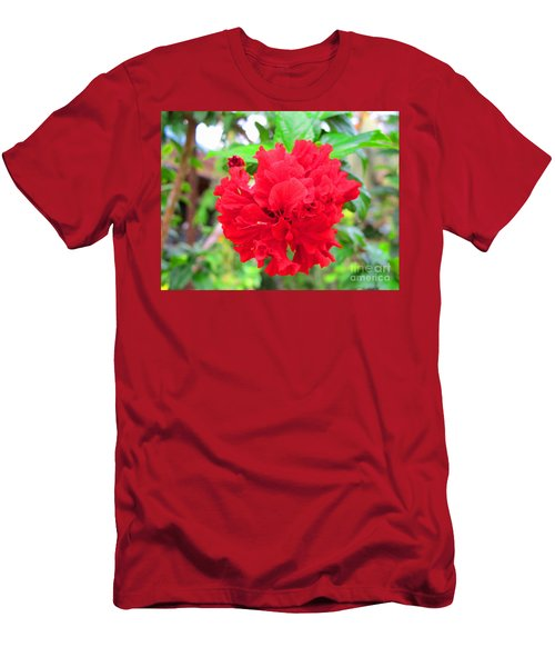 Men's T-Shirt (Slim Fit) featuring the photograph Red Flower by Sergey Lukashin