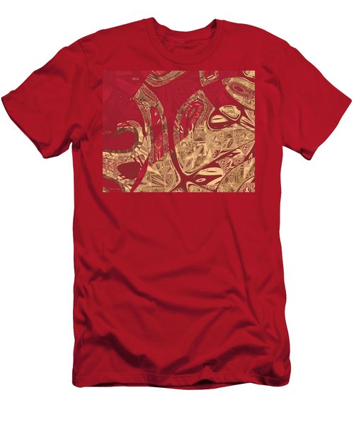 Red Geranium Abstract Men's T-Shirt (Slim Fit) by Judi Suni Hall