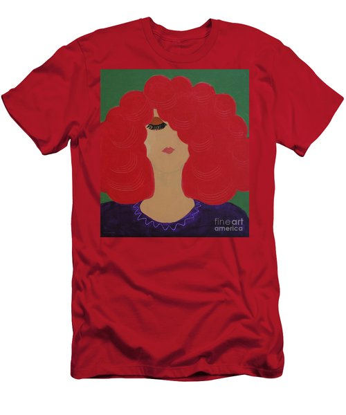 Men's T-Shirt (Slim Fit) featuring the painting Red Head by Anita Lewis