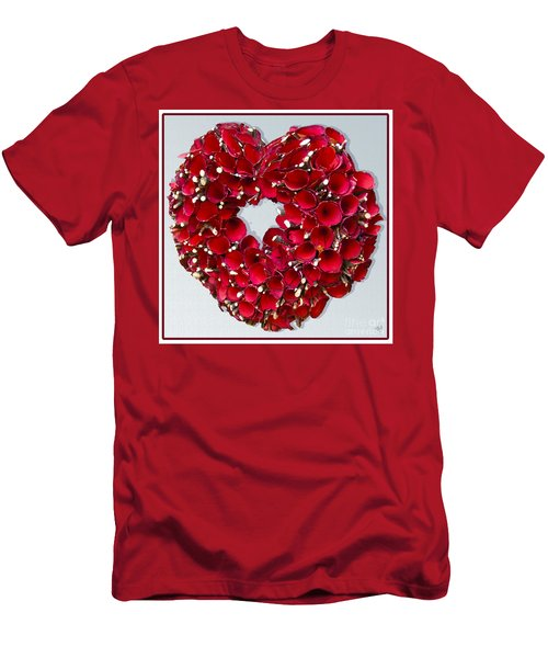 Red Heart Wreath Men's T-Shirt (Slim Fit)