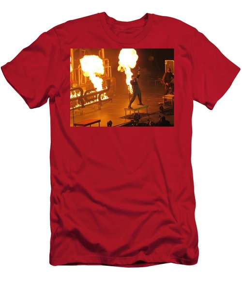 Red Heats Up Winterjam In Atlanta Men's T-Shirt (Slim Fit) by Aaron Martens