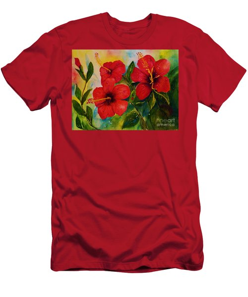 Red Hybiscus  Men's T-Shirt (Athletic Fit)