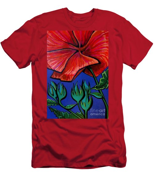 Red Ibiscus - Botanical Men's T-Shirt (Athletic Fit)