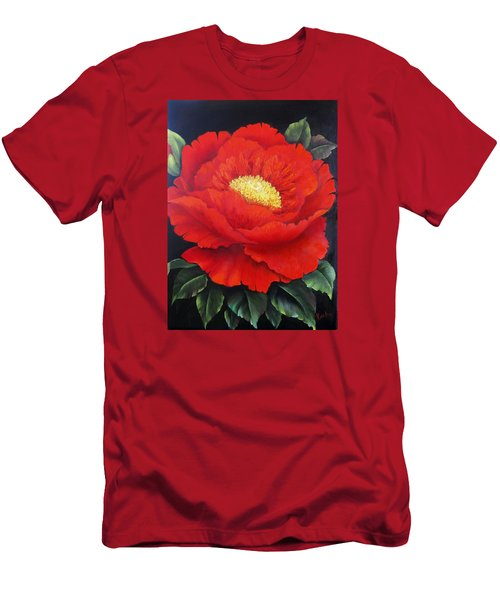 Red Peony Men's T-Shirt (Slim Fit) by Katia Aho