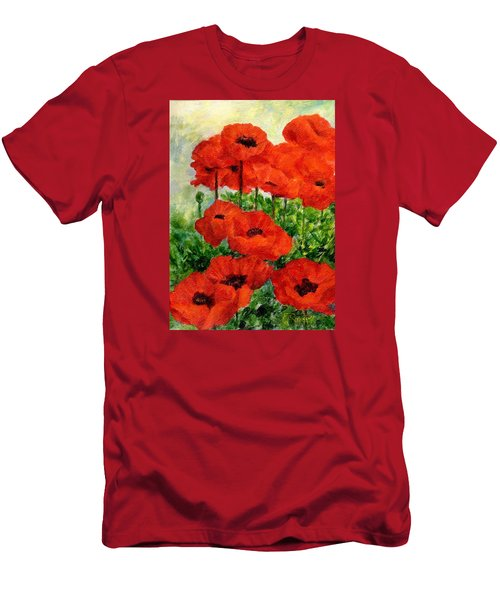 Red  Poppies In Shade Colorful Flowers Garden Art Men's T-Shirt (Slim Fit) by Elizabeth Sawyer