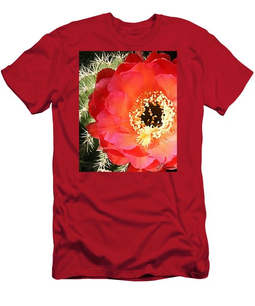 Red Prickly Pear Blossom Men's T-Shirt (Slim Fit) by Ellen Henneke