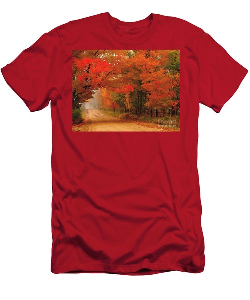 Red Red Autumn Men's T-Shirt (Slim Fit) by Terri Gostola