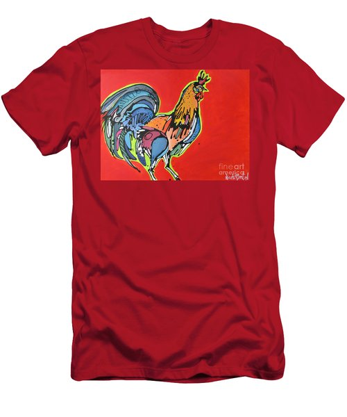 Men's T-Shirt (Slim Fit) featuring the painting Red Rooster by Nicole Gaitan