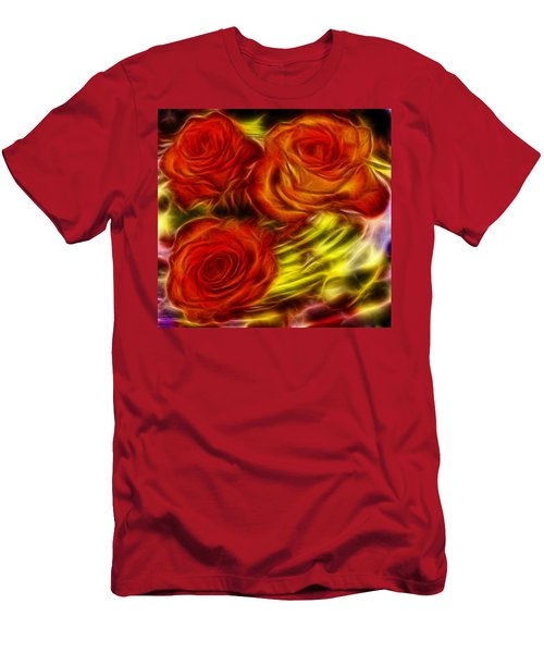 Men's T-Shirt (Slim Fit) featuring the painting Red Roses In Water - Fractal  by Lilia D
