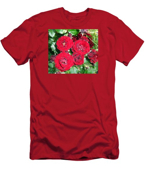 Men's T-Shirt (Slim Fit) featuring the photograph Red Roses by Vesna Martinjak