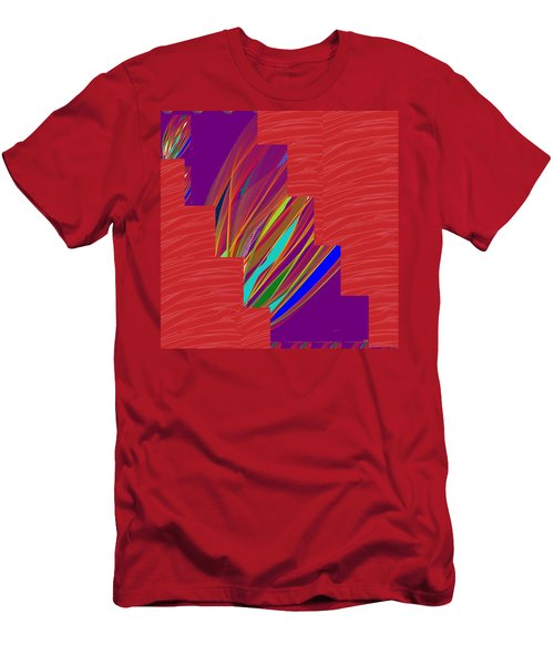 Men's T-Shirt (Slim Fit) featuring the photograph Red Sparkle And Blue Lightening Across by Navin Joshi