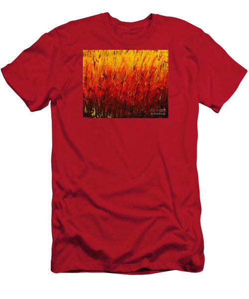 Men's T-Shirt (Slim Fit) featuring the painting RED by Teresa Wegrzyn