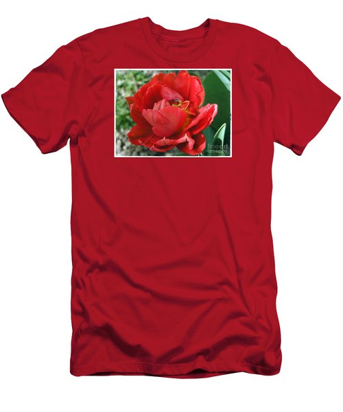 Men's T-Shirt (Slim Fit) featuring the photograph Red Tulip by Vesna Martinjak