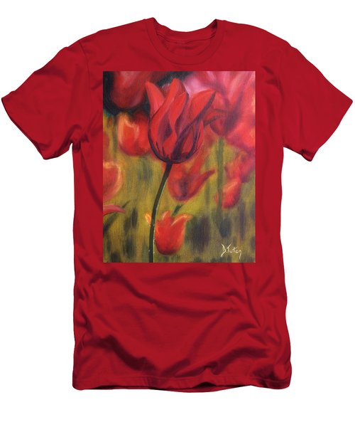 Men's T-Shirt (Slim Fit) featuring the painting Red Tulips by Donna Tuten