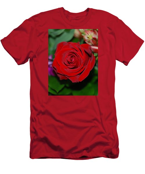Red Velvet Rose Men's T-Shirt (Slim Fit) by Connie Fox