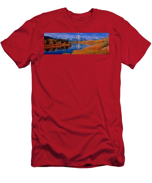 Reflection Of Mountains In The River Men's T-Shirt (Athletic Fit)