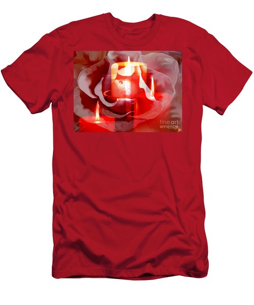 Rose Cross And Candles Men's T-Shirt (Slim Fit) by Annie Zeno