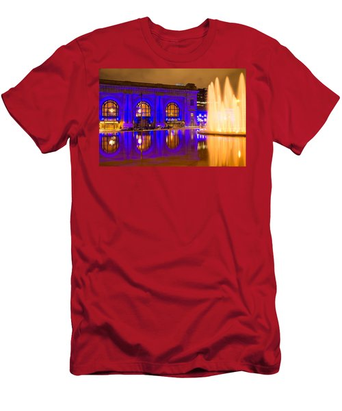 Royal Blue Reflections Union Station Men's T-Shirt (Athletic Fit)