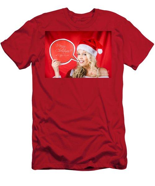 Santa Girl Holding Blank Bubble Board Men's T-Shirt (Athletic Fit)