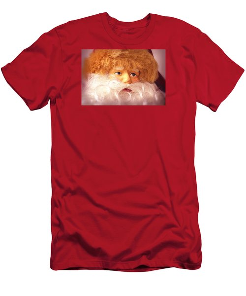 Santa With Big Blue Eyes Men's T-Shirt (Slim Fit) by Nadalyn Larsen