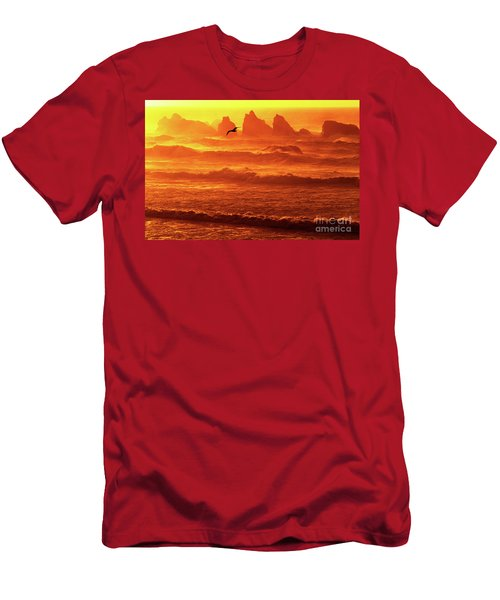 Men's T-Shirt (Slim Fit) featuring the photograph Seagull Soaring Over The Surf At Sunset Oregon Coast by Dave Welling