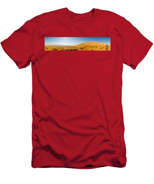 Shepherd Standing With Flock Of Sheep Men's T-Shirt (Athletic Fit)