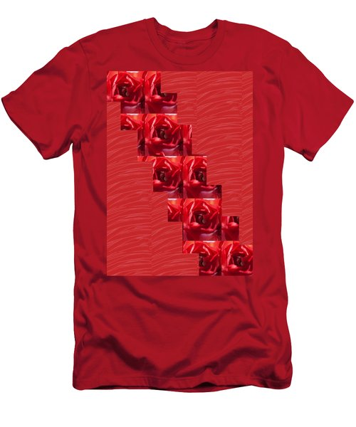 Men's T-Shirt (Slim Fit) featuring the photograph Silken Red Sparkles Redrose Across by Navin Joshi