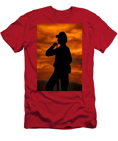 Men's T-Shirt (Slim Fit) featuring the photograph Sky Fire - Flames Of Battle 7th Pennsylvania Reserve Volunteer Infantry-a1 Sunset Antietam by Michael Mazaika