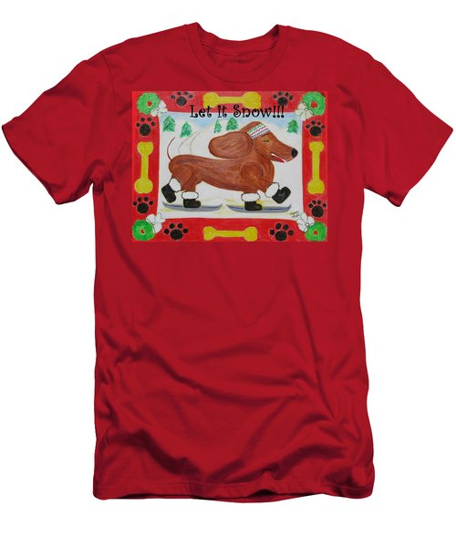 Men's T-Shirt (Slim Fit) featuring the painting Snow Dog by Diane Pape