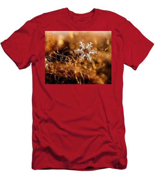 Snowflake On Brown Men's T-Shirt (Athletic Fit)