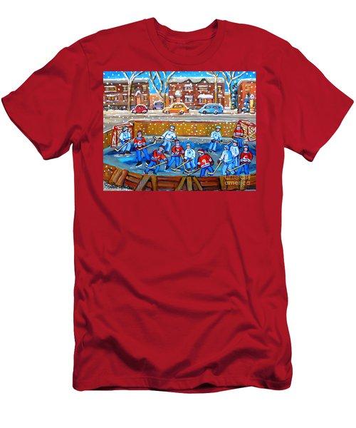 Snowy Rink Hockey Game Montreal Memories Winter Street Scene Painting Carole Spandau Men's T-Shirt (Athletic Fit)