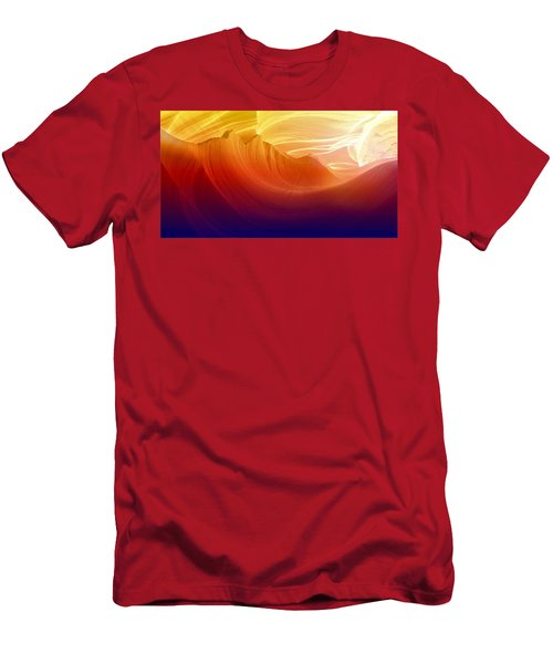 Men's T-Shirt (Slim Fit) featuring the photograph Somewhere In America Series - Colorful Light In Antelope Canyon by Lilia D