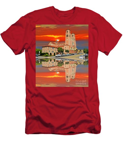 St Anne Church Of The Sunset In San Francisco With A Reflection  Men's T-Shirt (Slim Fit) by Jim Fitzpatrick