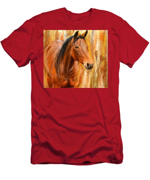 Standing Regally- Bay Horse Paintings Men's T-Shirt (Athletic Fit)