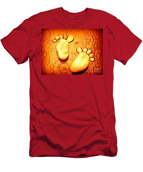Men's T-Shirt (Slim Fit) featuring the photograph Stoney In The Rain by Clare Bevan