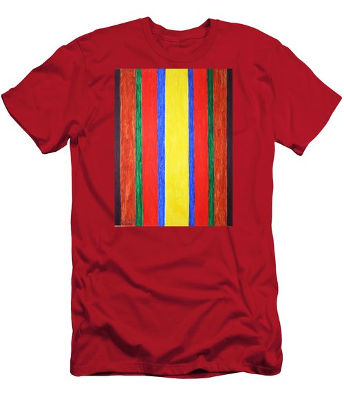 Men's T-Shirt (Slim Fit) featuring the painting Vertical Lines by Stormm Bradshaw