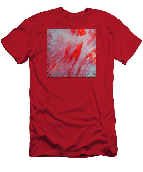 Men's T-Shirt (Slim Fit) featuring the painting Strawberry Ice Cream by Dragica  Micki Fortuna