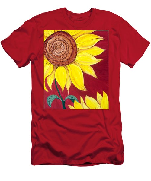 Sunflower On Red Men's T-Shirt (Athletic Fit)