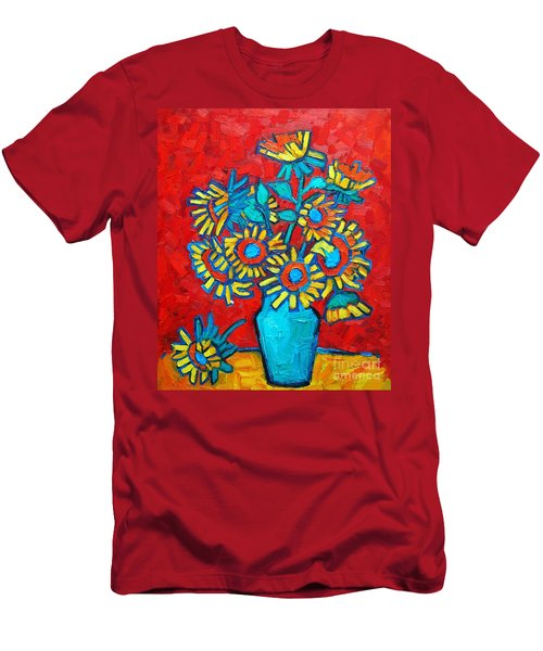 Sunflowers Bouquet Men's T-Shirt (Slim Fit) by Ana Maria Edulescu