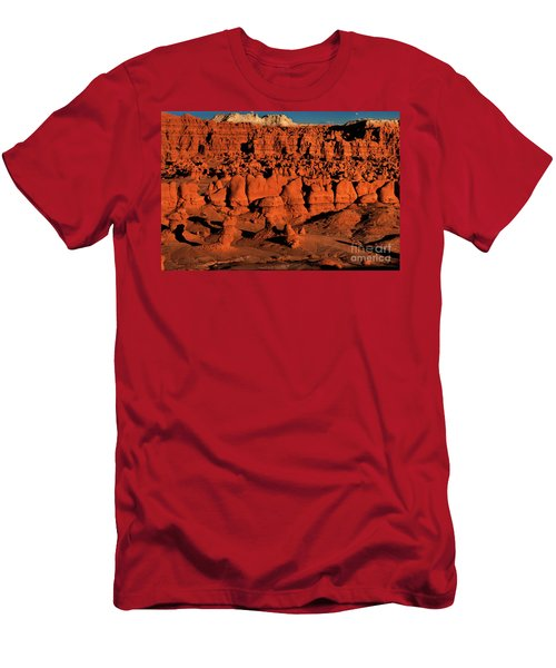 Sunset Light Turns The Hoodoos Blood Red In Goblin Valley State Park Utah Men's T-Shirt (Athletic Fit)