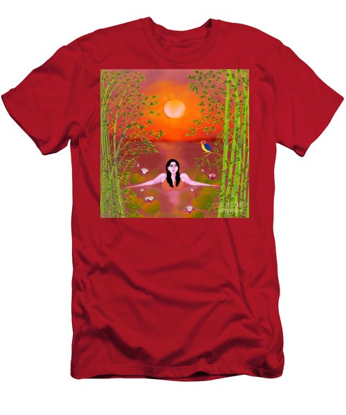 Men's T-Shirt (Slim Fit) featuring the digital art Sunset Songs by Latha Gokuldas Panicker