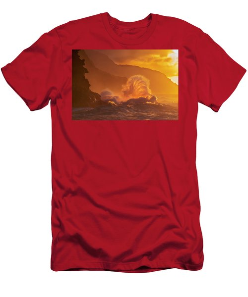 Surf Crashes On The Na Pali Coast Men's T-Shirt (Athletic Fit)