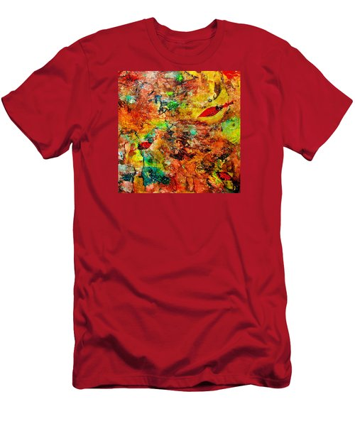 Men's T-Shirt (Slim Fit) featuring the painting The Forest Floor by Carolyn Repka