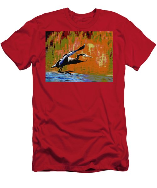 Men's T-Shirt (Slim Fit) featuring the photograph The Great Blue Heron Jumps To Flight by Tom Janca