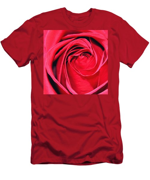 Men's T-Shirt (Slim Fit) featuring the painting The Red Rose Blooming by Karon Melillo DeVega