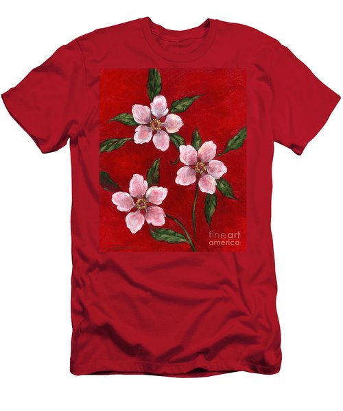 Three Blossoms On Red Men's T-Shirt (Athletic Fit)