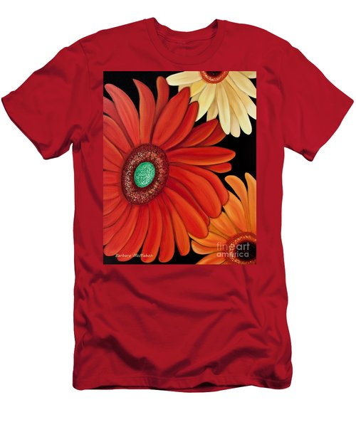 Men's T-Shirt (Slim Fit) featuring the painting Three Gerbera by Barbara McMahon