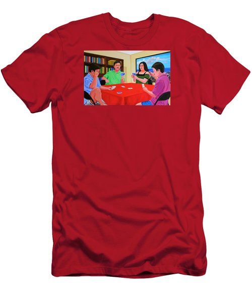 Three Men And A Lady Playing Cards Men's T-Shirt (Slim Fit) by Cyril Maza